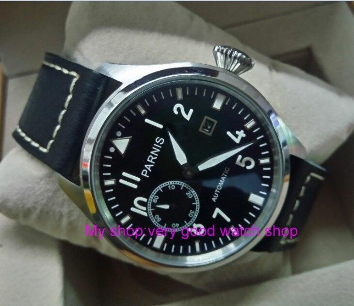 47mm big pilot PARNIS Black dial Automatic Self-Wind movement Auto Date men watches luminous Mechanical watches df72A