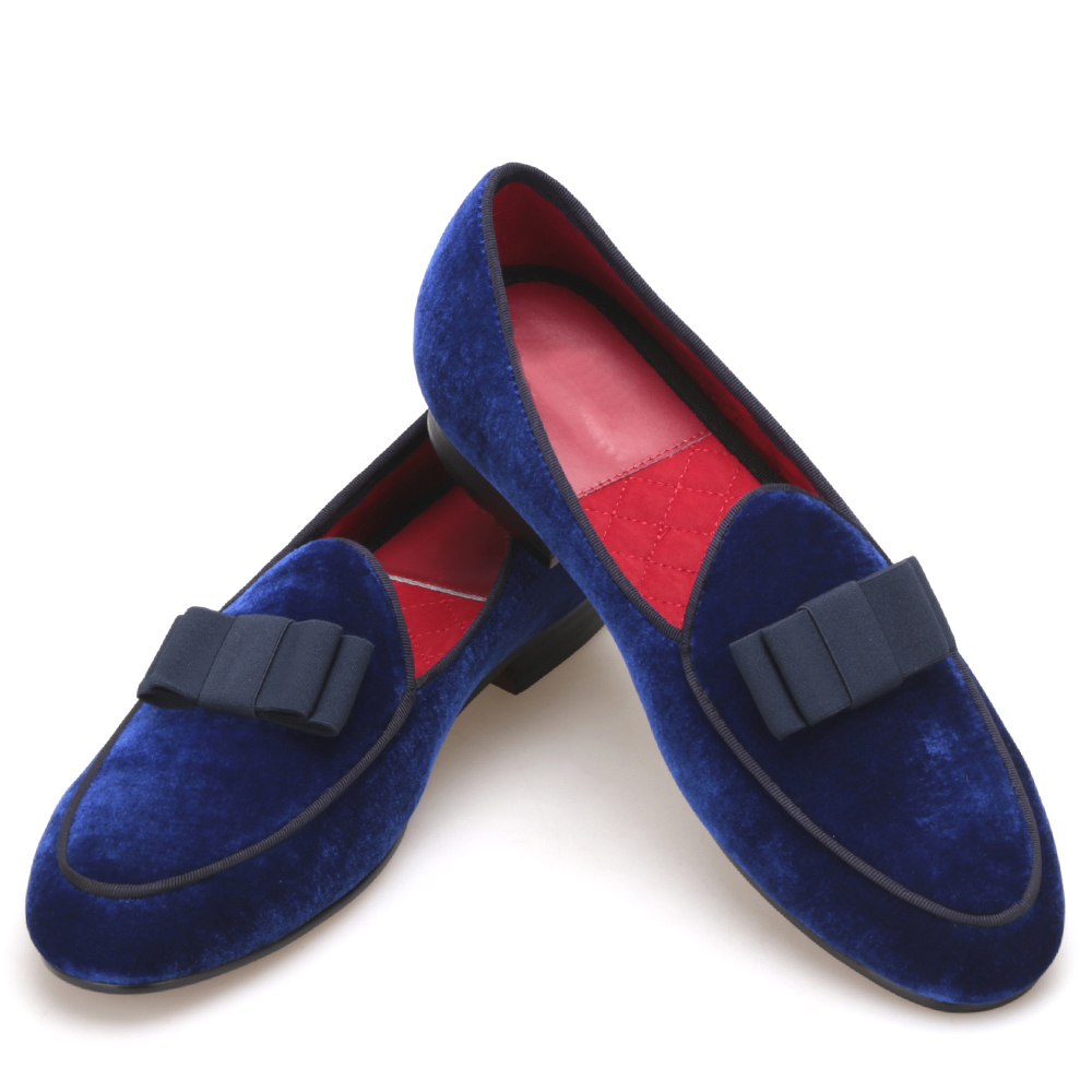 Royal blue velvet Handmade men shoes with navy Bowtie Fashion Prom and Wedding men dress loafers Plus size male's flat