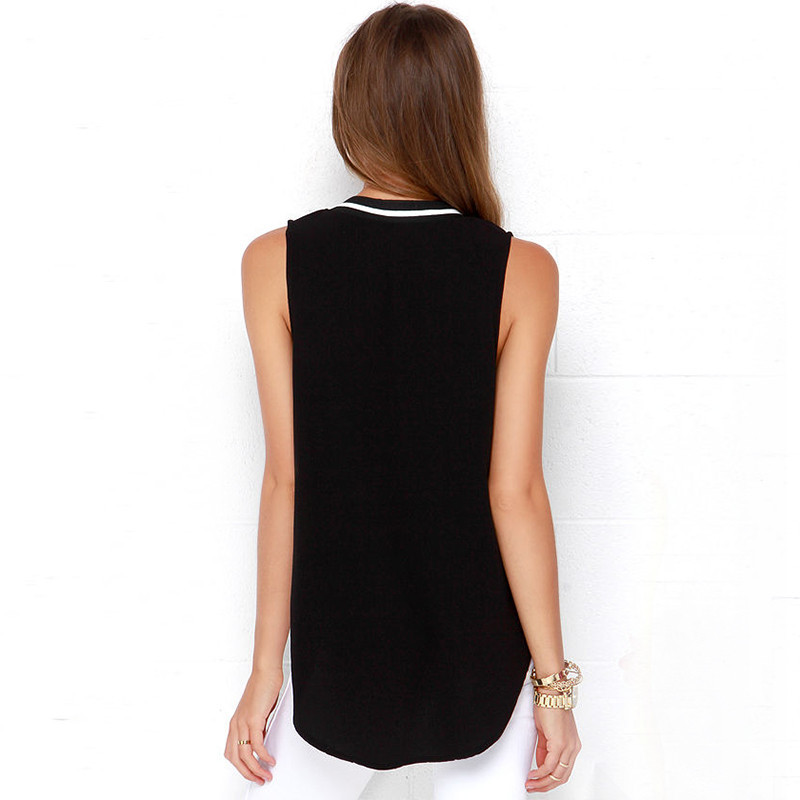 European women's summer style chiffon blouses shirts sexy loose sleeveless top Shirts women V-neck blusas feminina G1192 3