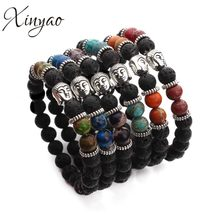 XINYAO Trendy Tibetan Silver Color Buddha Lava & Imperial Created Bead Buda Bracelets Bangle For Women & Men Pulsera(China)
