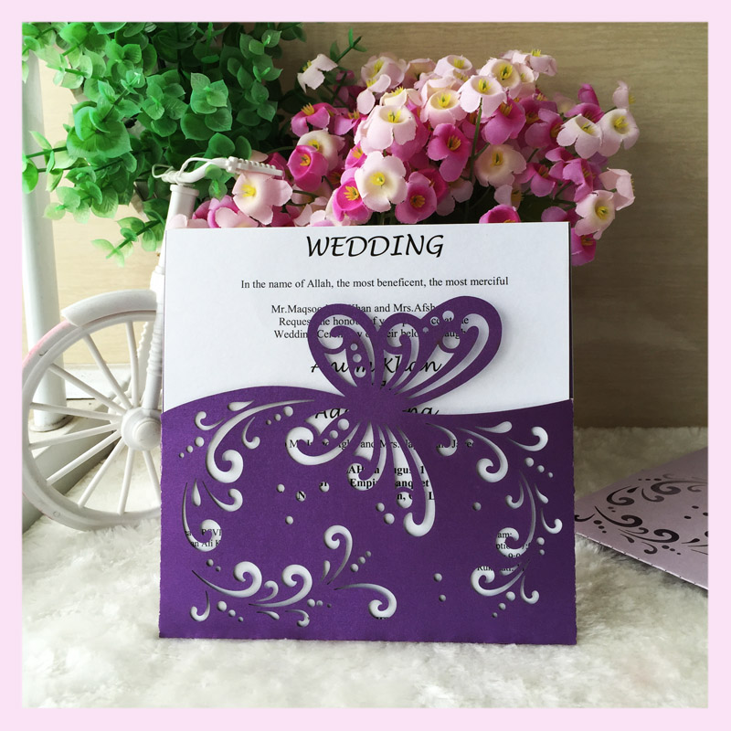 2016 Hotsale Beautiful Butterfly Printed Wedding Card Design/ Custom Dark  Purple Wedding Invitation Cards(