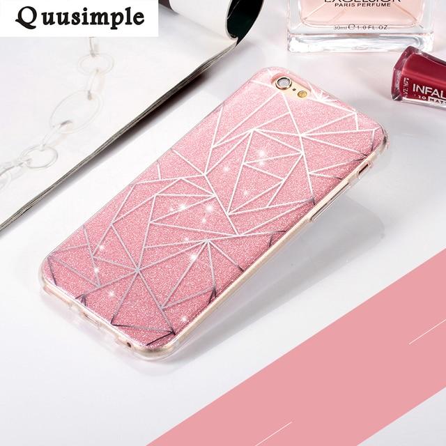 Dla apple iphone 6 6 S plus 5 5S Przypadku Telefonu dla iphone 7 7 plus Miękki Gel TPU Back Cover Bling Glitter Shimmering Ochronne Shell