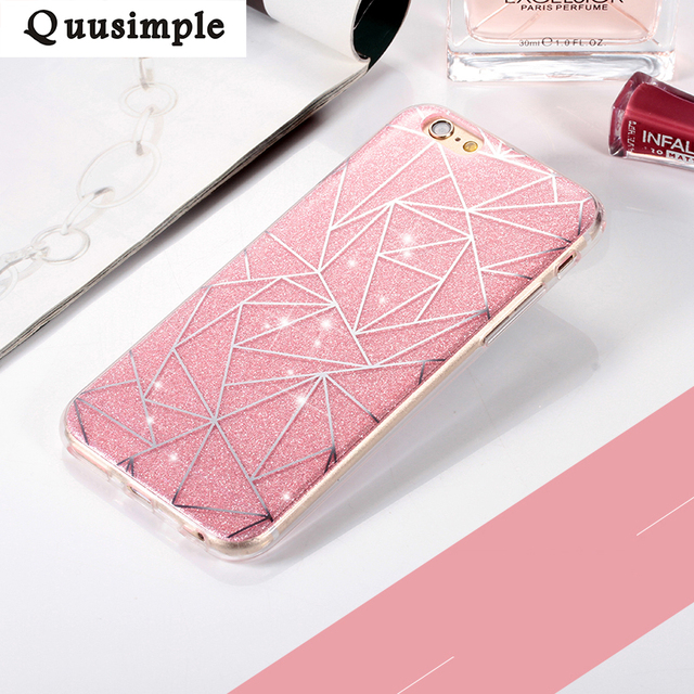 Dla apple iphone X 8 6 plus 5 5S Phone Case dla iphone 7 Plus Miękki Gel TPU Back Cover Bling Glitter Shimmering Ochronne Shell