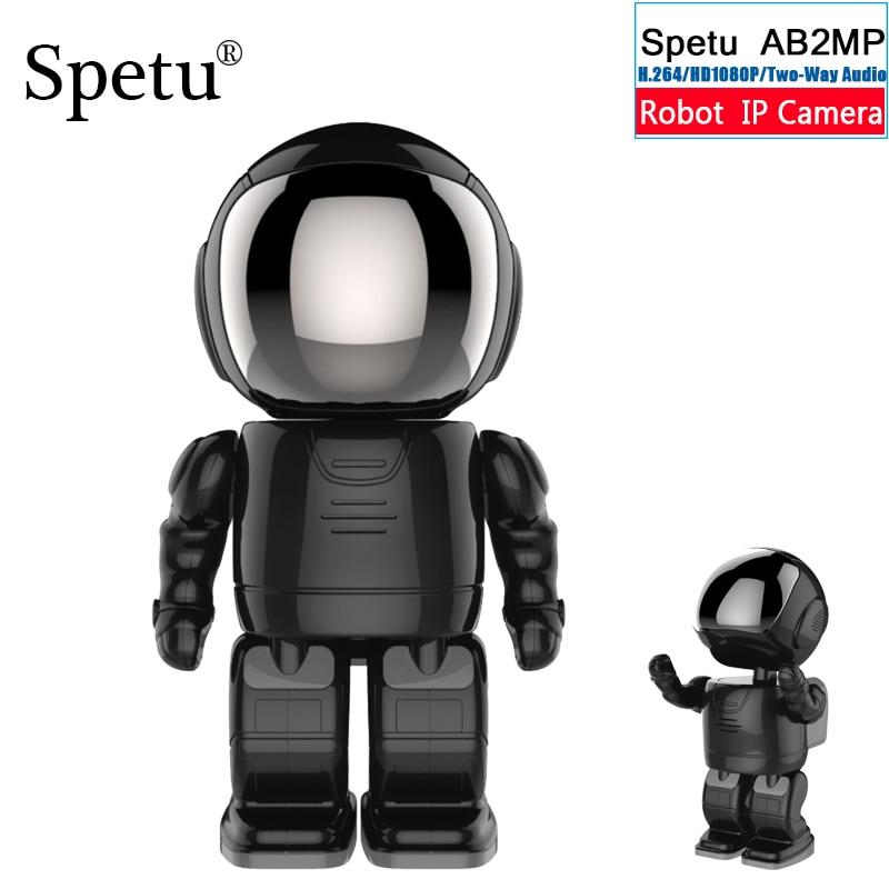 Spetu New Arrival Robot Camera 1080P HD WIFI IP Camera Wireless Network Baby Monitor Night Vision Onvif Two Way Audio Black