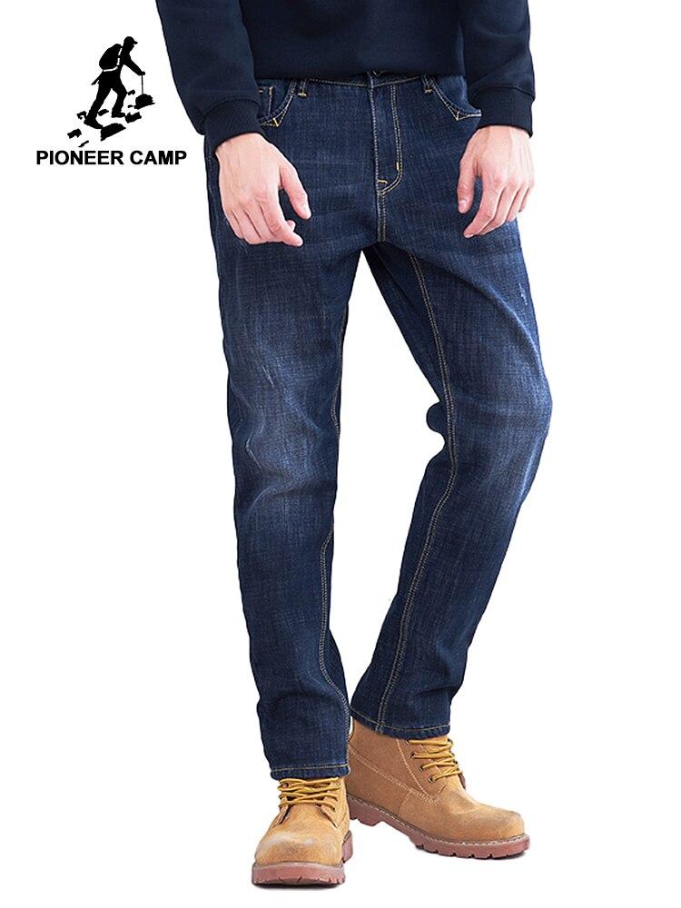 Пионерский лагерь зимние толстые джинсы Мужская брендовая одежда теплый флис внутри джинсовые брюки мужские качество тяжеловесный темно с...