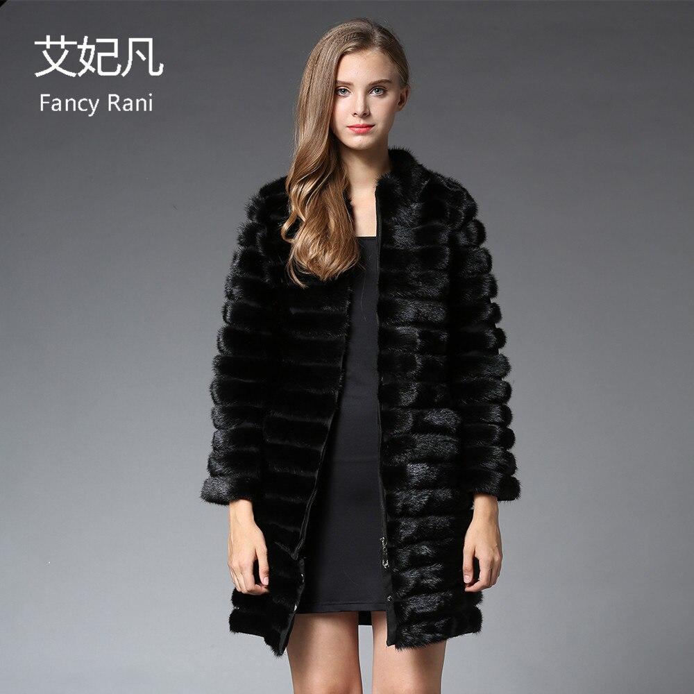 Women X-Long Real Mink Fur Coat Mandarin Collar Natural Mink Fur Jacket Russian Winter Black Genuine Mink Fur Coat Stand Collar