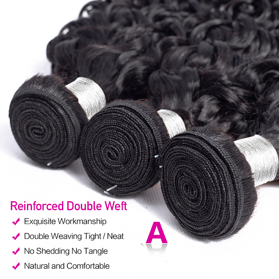 Hermosa Water Wave Bundles With Closure Brazilian Hair Bundles With Closure Non-Remy Hair 3 Bundles With Closure Middle Ratio