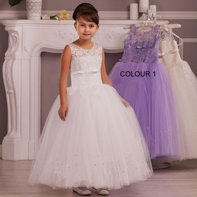 2017 Pageant Dresses for Girls Glitz Ball Gown Kids Beauty Pageant Dresses Ankle-Length Flower Girl Dress Lace Communion Dress