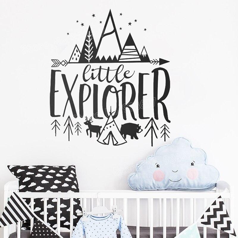 Petit Explorateur Vinyle Stickers Muraux Citer pour Bébé Pépinière Amovible Stickers Muraux Enfants Woodland Accueil Art Décor Papier Peint JW355