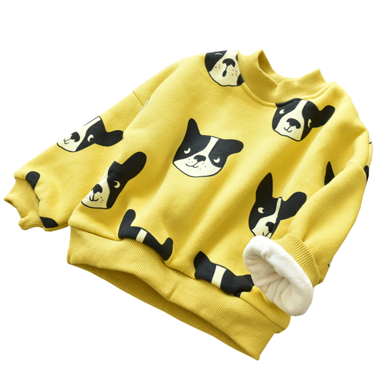Children Girl Cute Cartoon Dog Print Blouse Long Sleeve Thickened Costumes Toddler Casual Cotton Tops Kids Warm Clothing