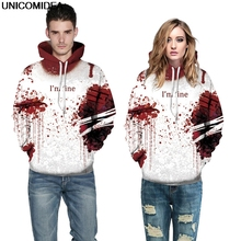 3D Blood Wound Hoodies Sweatshirts Women Men I'M FINE Letter