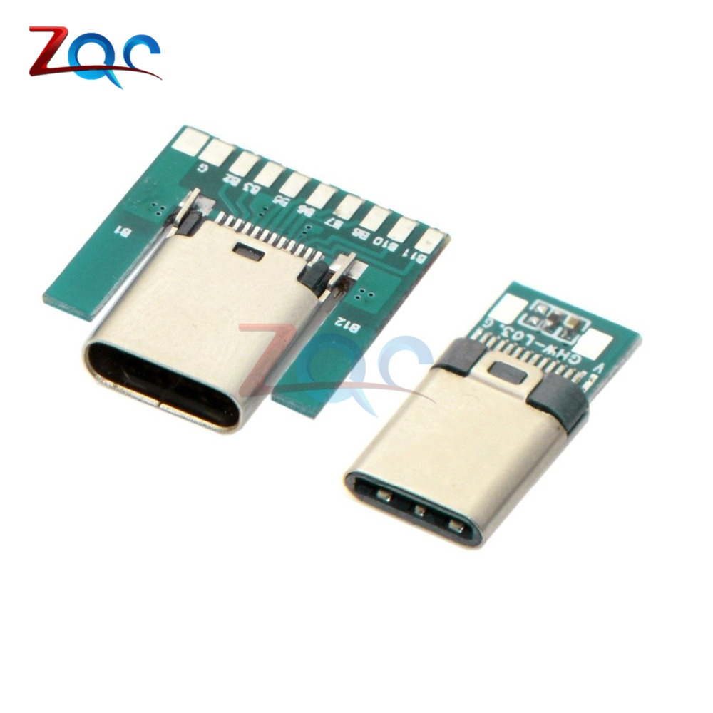 USB 3.1 Type C Connector 24 Pins Male Female Socket receptacle adapter to solder wire & cable 24P PCB Board support ModuleUSB 3.1 Type C Connector 24 Pins Male Female Socket receptacle adapter to solder wire & cable 24P PCB Board support Module
