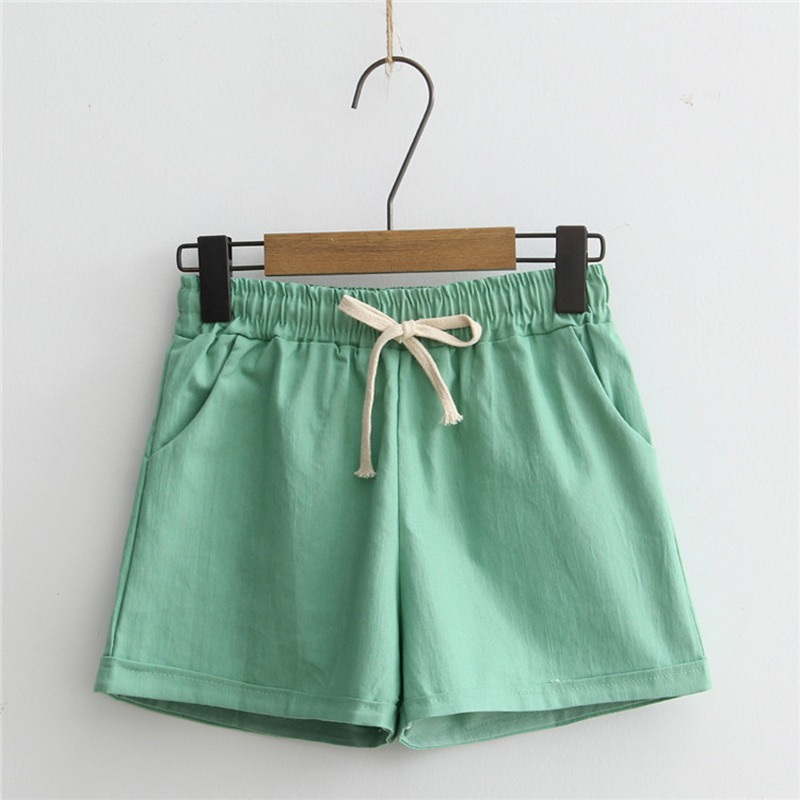 Shorts Women New Pantalones Cortos Mujer Womens Candy Color Casual Loose Cotton & Linen Straight