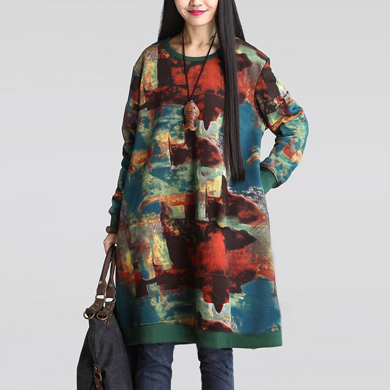 2016 Autumn and Winter New Women s Large Fat Thin Thick Sweatshirt Personalized Printed Cotton Long