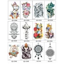 3PCS Trendy Henna Tattoos Temporary Tattoo Sticker For Body Art Adhesive Transfer Tattoos For Men And Women Tatuajes Dorados