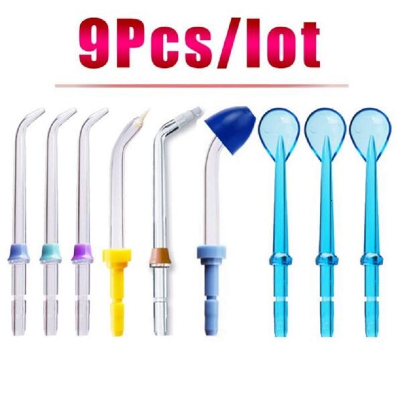 9pcs Oral Irrigator Replacement Standard Sprinkler + Nose Washing + Tongue Cleaning