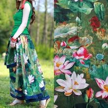 1 meter linen/cotton printing fabric us$10.5/meter 147cm imitation wax cloth lotus art curtain table skirt decoration