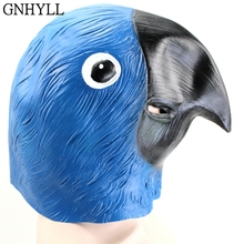 GNHYLL Blue Parrot Latex Mask Realistic Masquerade Costume Prop Halloween Party Adult Full Face
