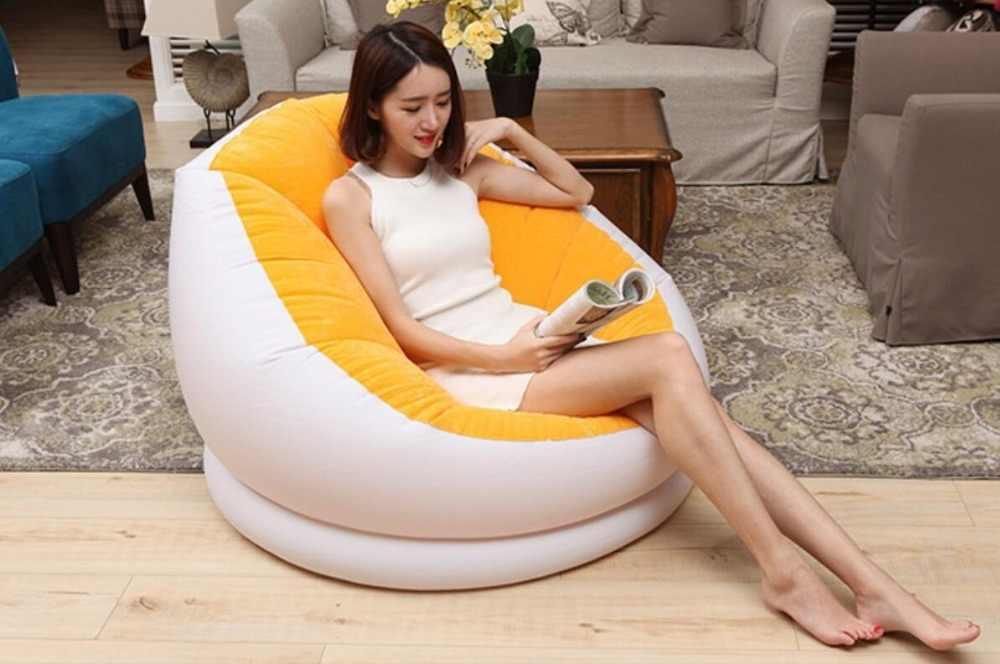 Reunindo sofá inflável sofá preguiçoso cama único cochilo cadeira de sala de estar simples e moderno quarto com pedal, escabelo cadeira do saco de feijão