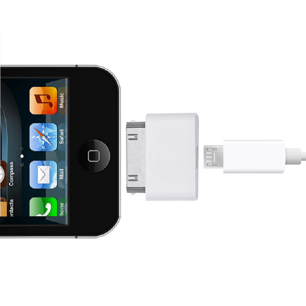 usb charger adapter for iphone 4 4s micro usb to 30pin usb. Black Bedroom Furniture Sets. Home Design Ideas