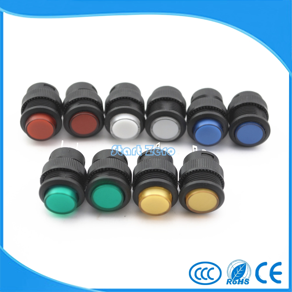 5pcs Led Illumination Plastic Push Button Switch With Light High Dc 24v Selflock Momentary Latching 4pin Type 16mm White Red Blue Green Yellow Lamp Round Self Lock