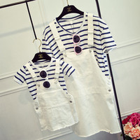 Mother Daughter Dresses Clothes 2017 Summer Baby Girls Two Pieces Set Striped Tees T Shirt Denim