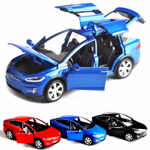 Sell 1:32 Scale Car Model X90 Tesla Blue alloy diecast Model Car W sound&light Pull Back model Car Toy Cars Kids Toys Collection 1 43 diecast model for mitsubishi eclipse spyder blue alloy toy car miniature collection gifts