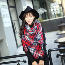 DENISKA Women Vintage Lattice Fringe Square Long Wrap Shawl Scarf Scarves Stole Cape Girl Lady Winter Basic Tartan Blanket Scarf