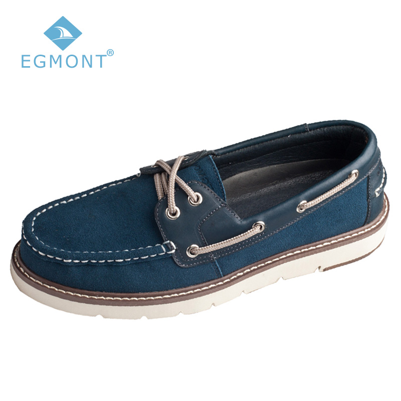 Egmont Blue Spring Summer Boat Shoes Logging Mens Casual Shoes Loafers Shoes Leather Handmade Comfortable Breathable