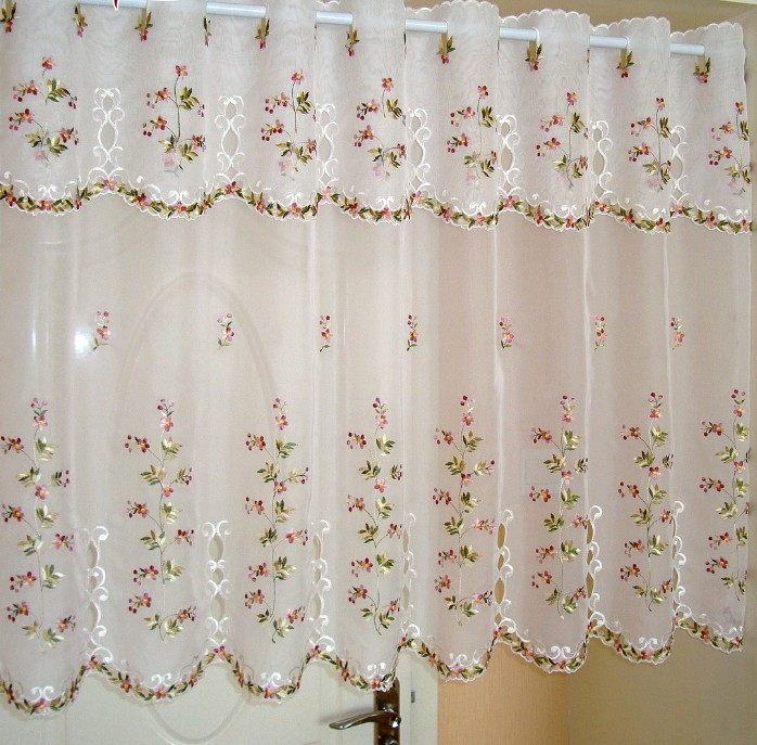 Multi Size Door Curtains Pastoral White Flower Rose Embroidery Short Curtain Half Kitchen Curtain For Living Room Bathroom AA52