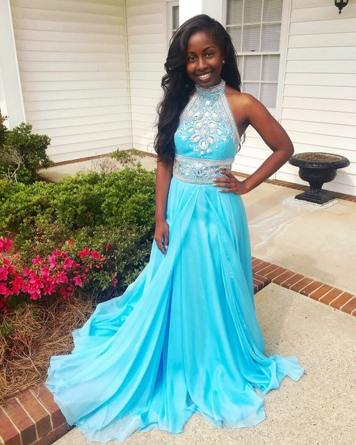 Sexy Turquoise African Black Girl Prom Dress High Neck Beading ...