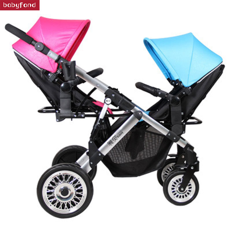 Boy and girl Twin Stroller Two Way Baby Stroller Light And Foldable Baby Umbrella carts Can Sit and lie trolley brand baby pram baby stroller can sit and lie trolley light folding baby cart high landscap baby stroller umbrella carts