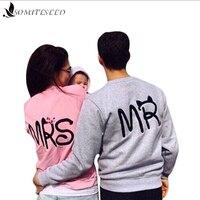 Spring Casual Long Sleeve Tops Mr Mrs Printed Pullover Hoodies Couples Lovers Sweatshirt