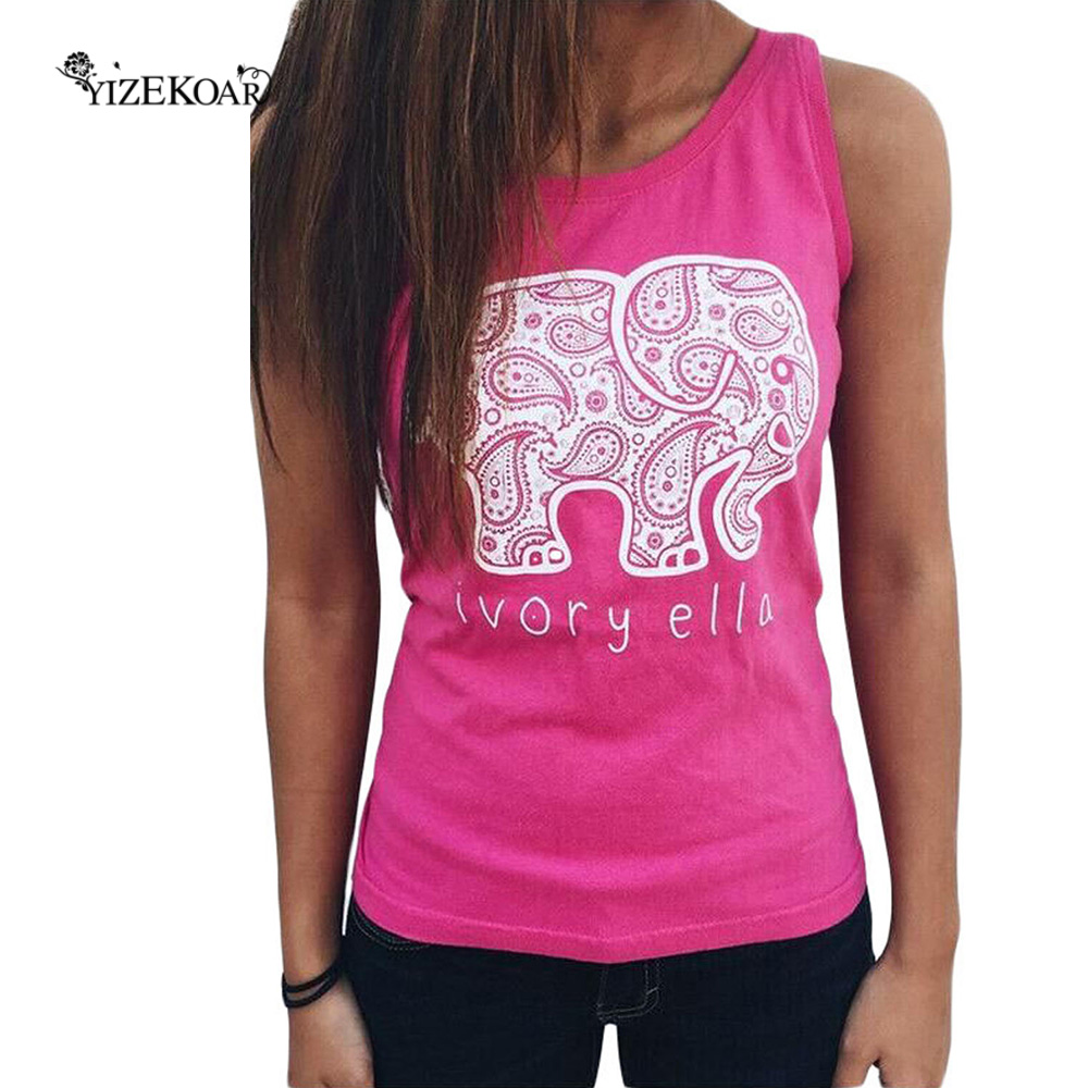 YIZEKOAR Store YIZEKOAR Fashion New Harajuku Shirt Women 2017 White (4 Colors) Womens Summer Stylre Elephant Print Vest LC25819 Camisetas Mujer