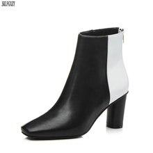 SKLFCXZY Novo estilo menina de couro botas de salto alto tornozelo botas botas mulheres mulheres sapatos de couro de alta qualidade