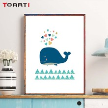 Cartoon Whale Canvas Painting Nordic Minimalist Style Print Poster Picture For Restaurant Kids Room Home Wall Art Decoration