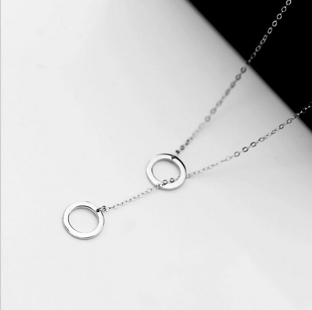 2016 New Design European American Simple Round Circles 925 Sterling Silver Jewelry Necklaces For Women Choker Necklace D286