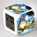 2016 New Digital Despertador com Calendário Termômetro 11 Estilos Totoro Dos Desenhos Animados Relógios Crianças Ao Lado de Luz LED Cor Mutável