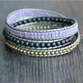 Triple Champagne Leather Beaded Bracelet,Purple,Copper,Black Simple Beaded Bracelet Friendship Bracelets Jewelry