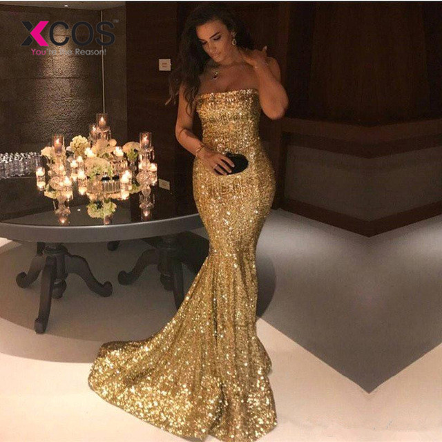XCOS Gold 2019 Prom Dresses Mermaid Strapless Sequins Sparkle Crystals Plus Size Long Prom Gown Evening Dresses Robe De Soiree