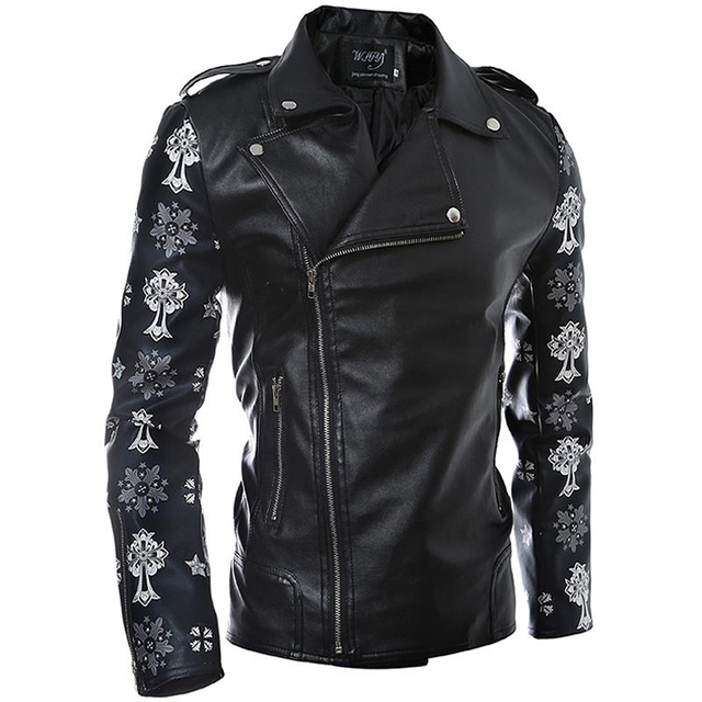 PU Leather Jacket Male Side Zipper Fashion Printed Leather Sleeve Slim Fit Leather Jacket Men Motorcycle Deri Ceket Erkekler