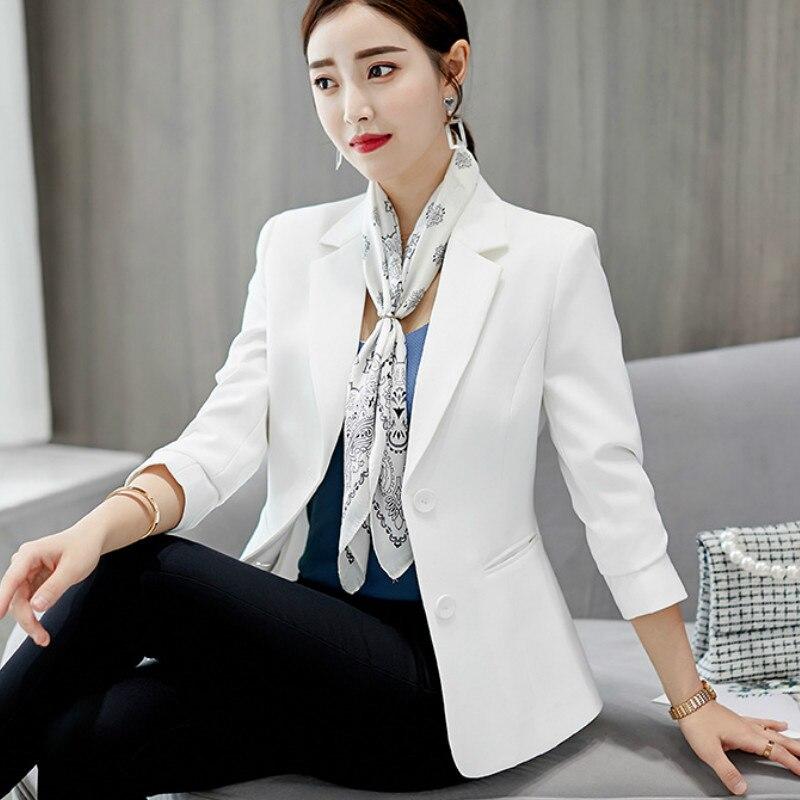 Women's white business blazer Temperament Slim Long Sleeve Office Blazer Women's jacket single-breasted suit female 2019