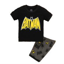 Meninos Pijamas de Verão Novo Algodão Roupa Dos Miúdos Meninas Conjunto de Manga Curta Roupas Conjuntos Spiderman Batman Iron Man Shorts Pijamas Ternos(China)