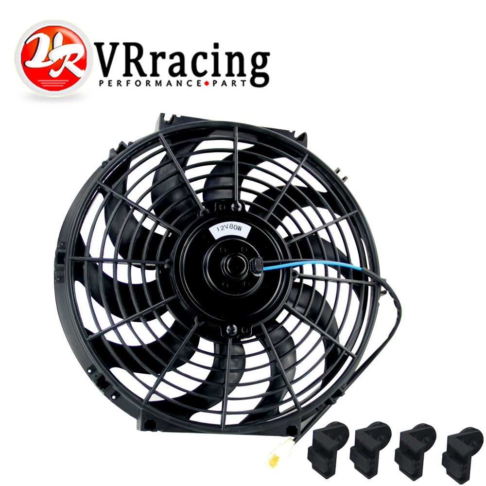 VR RACING - 12Inch Universal 12V 80W Slim Reversible Electric Radiator AUTO FAN Push Pull With mounting kit Type S 12 VR-FAN12