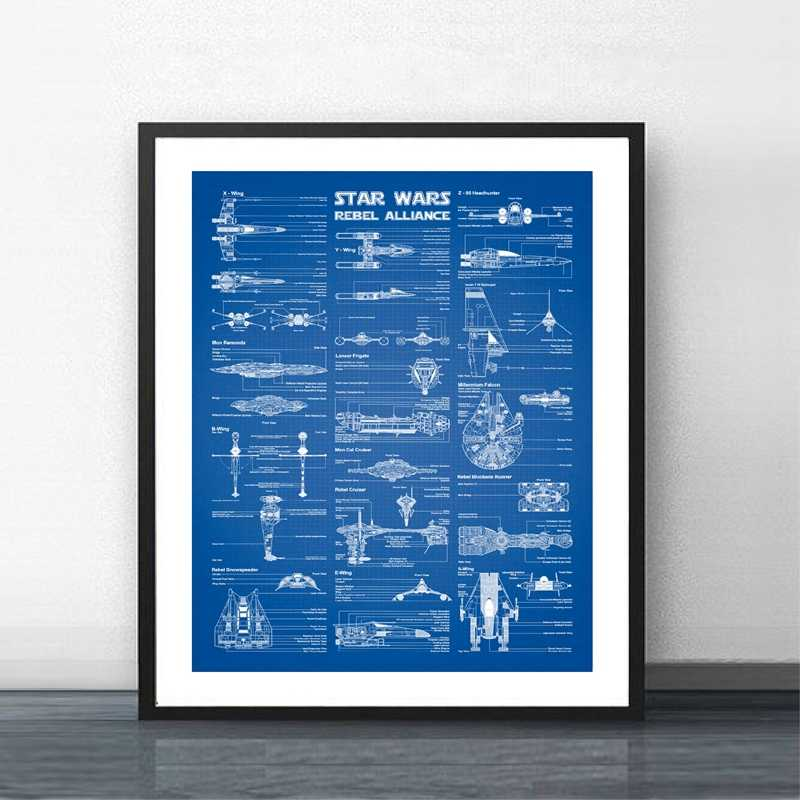 Star Wars Spaceships Chart Patent Posters Print Rebel Alliance Spacecraft Blueprints Wall Art Canvas Painting Office Wall Decor