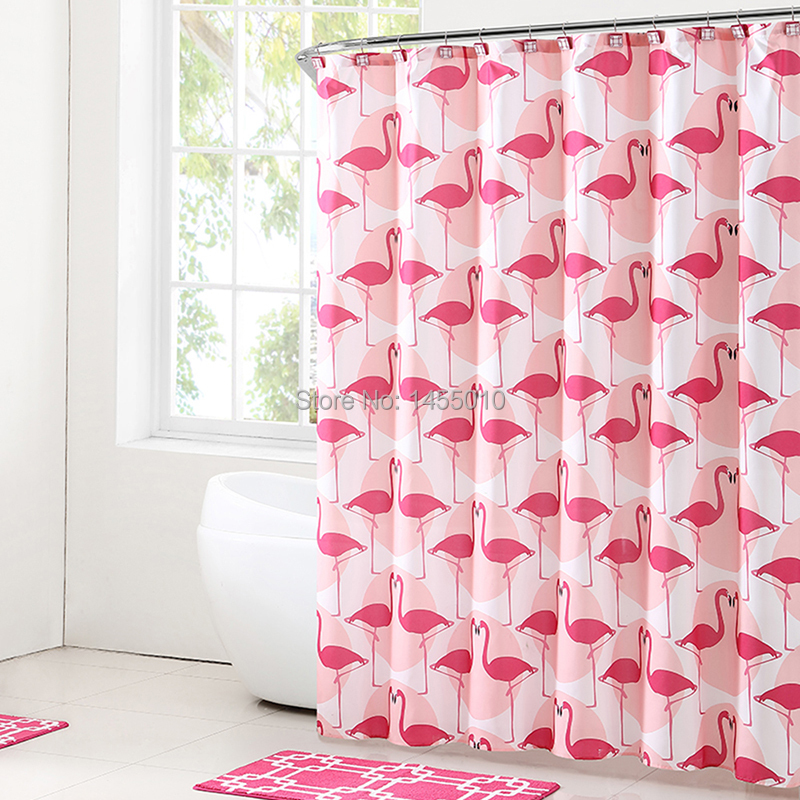 Fabric Polyester Red Flamingo Waterproof Shower Curtains Thicken fabric Bathroom Shower Curtains