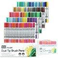 100 цветов Двойная Акварельная Кисть ручка художественные маркеры с 2 мм наконечник и 0,4 мм тонкий наконечник для взрослых окраска
