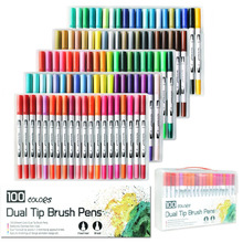 100 Colors Dual Watercolour Brush Pen Art Markers with 2mm Brush Tip and 0.4mm Fine Tip for Adult Colouring
