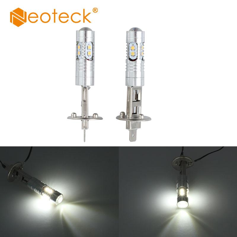 цена на Neoteck 2pcs H1 50W High Power LED White Fog Light Daytime Bulb For 12V car SMD 2323 Cree Headlight Light Driving Fog Lampdas