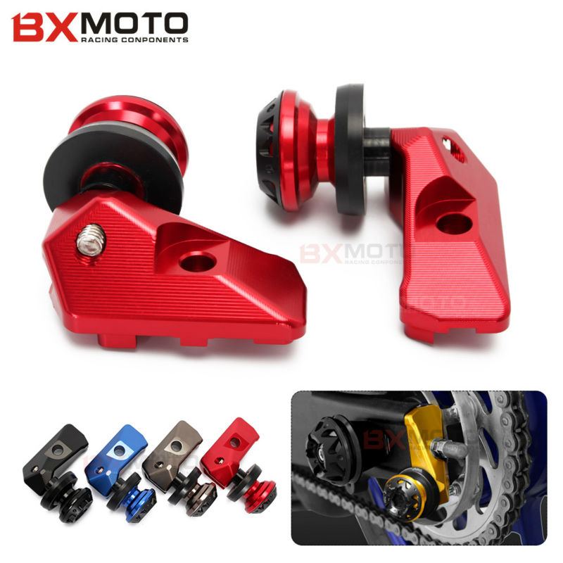 Motorcycle Accessories Red Rear Axle Spindle Chain Adjuster Blocks With Spool Sliders Kit For Yamaha Yzfr3 Yzf-r25 Mt03 Mt25 цена и фото